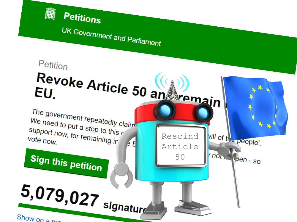The Article 50 Petition HAS been hijacked by bots. We know, because we did it! 3