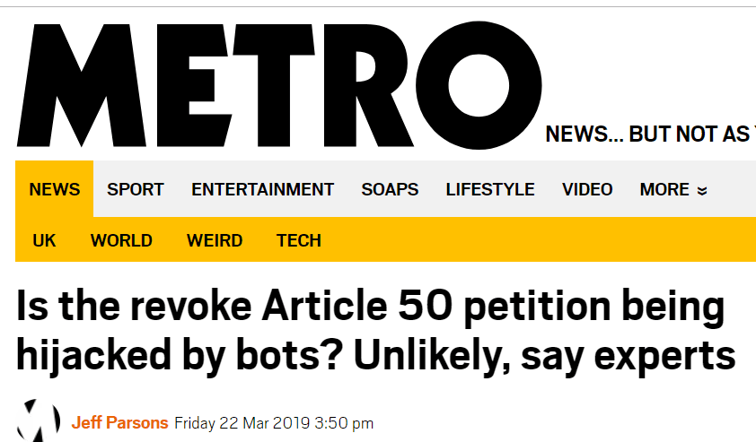 The Article 50 Petition HAS been hijacked by bots. We know, because we did it! 5